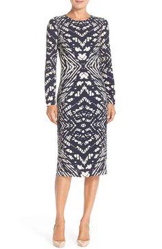 Maggy London Tie Dye Print Crepe Midi Sheath Dress