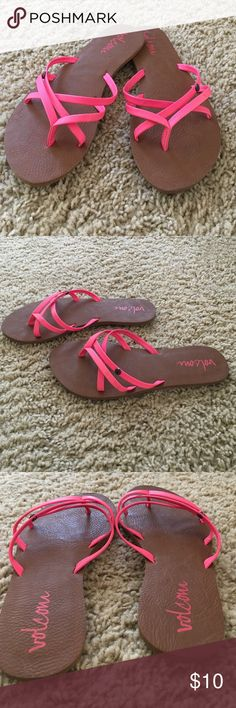 Sandals volcom. neon pink Super cute flat sandals in neon pink. Like new. Excellent conditions Volcom Shoes Sandals