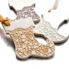 Ceramic Ornament with Lace Impression by JewelryByMondaen on Etsy