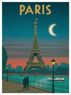 Vintage Paris Moonlight Poster by IdeaStorm Media. http://ideastorm.bigcartel.com