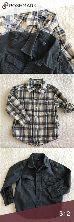 Gap kids boys long sleeve button up shirt bundle Both are Gap kids with no holes or stains. Minor wash wear/fade. Plaid can have sleeves rolled look and solid gray-navy has a military style.  Smoke free. GAP Shirts & Tops Button Down Shirts