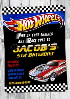 Hot Wheels Invitation Printable Race Car by partyprintouts on Etsy, $13.00