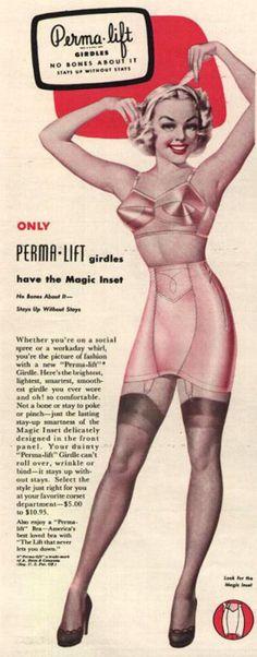 1940s, Perma-Lift girdles retro ads, bones, vintag lingeri, 1940s, vintag advertis, corset, permalift girdl, retro fashion, girdl sale