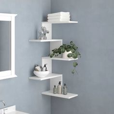 Wall & Display Shelves - This simple and popular floating style wall shelf has an innovative space-saving design while being - Modern Wall Shelf, Wall Shelf Decor, Wall Shelves Design, Diy Corner Shelf, Decor, Interior, Salon Interior Design, Corner Decor, Home Decor