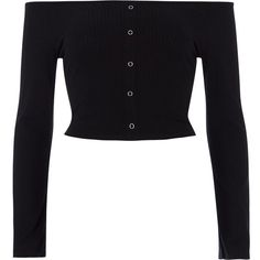 River Island Black rib popper bell sleeve bardot crop top (479.160 IDR) ❤ liked on Polyvore featuring tops, shirts, black, crop tops / bralets, women, bralette crop top, long bell sleeve tops, bell sleeve crop top, ribbed crop top and rib crop top
