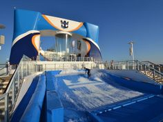Hang ten on the FlowRider. The surf simulator on Anthem of the Seas lets you board while out at sea.