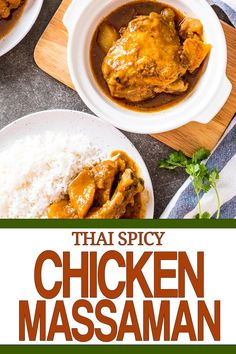 Chicken massaman, a delicious wet curry dish served with rice and potatos. It's got an earthy taste and the chicken is moist. It's one of my favourite recipes. I hope to try it out! It's all free, also, get a free E-book at our site! #tastythais #thaifood #massamangai #chickenmassaman #massamancurry #chickencurry Chicken Massaman Curry, Massaman Curry Paste, Thai Chicken, Spicy Chicken Recipes, Curry Recipes, Curry Soup, Thai Cooking, Curry Dishes, Earthy