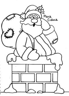 Santa in the chimney Christmas Hanukkah, Christmas Colors, Christmas Crafts, Christmas Drawing, Christmas Paintings, Colouring Pages, Coloring Books, Diy Halloween Graveyard, Merry Christmas Coloring Pages