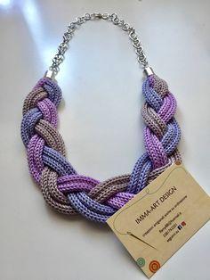Collana treccia tricot viola e lilla di ImmaArtDesign su Etsy