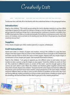 #ClippedOnIssuu from Biblical Character Curriculum - Creativity