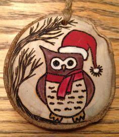 Rustic hand painted wood burned SANTA OWL Christmas ornament - natural wood