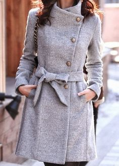 Cinched waist gray coat- beautiful.