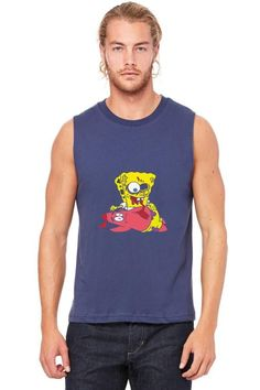 spongebob zombie game over party humor funny gift cartoon Muscle Tank