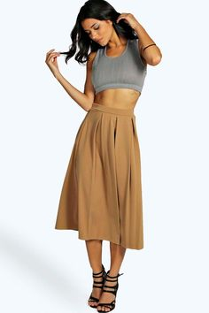 Beau Box Pleat Midi Skirt