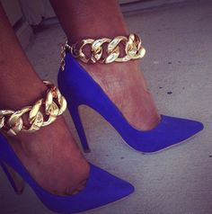 Royal Blue Heels with chains - GlamyMe