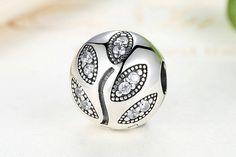 Clip con foglie, Pure Silver Sparkling Leaves 100% argento sterling 925  adatta a misure Pandora charm, beads e braccialetto europeo S351 di OceanBijoux su Etsy