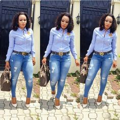 Denim shirt tucked into ripped skinny ankle jeans.Today we are present to you some trendy collection of casual outfits which are beautiful which you can steal there styles while hanging with friends and spouse during the weekend . Casual Work Outfits, Classy Outfits, Chic Outfits, Fashion Outfits, Fashion Styles, Latest African Fashion Dresses, Business Casual Attire, Moda Fashion, Clothes For Women