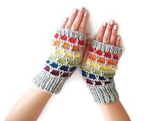 Knitting Pattern PDF Fingerless Glovespainbow by boutiqueseragun, $4.00