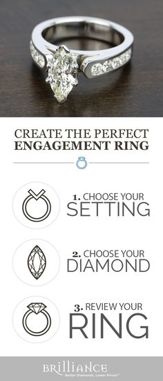Create your perfect engagement ring! Start with a beautiful setting, add your choice of marquise diamond and see it all come together!