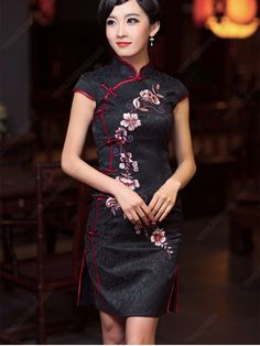 Women's Black Mini Cheongsam Dress - USD $ 112.00