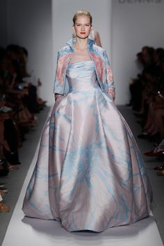 Pale Rose Pink and Sky Blue Double Face Silk Gown :: Dennis Basso Spring 2014 Collection