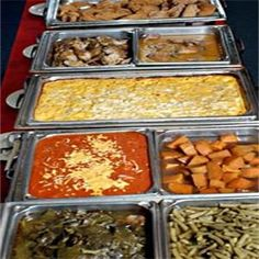 Soul Food Buffet Including Greens Green Beans Yams Macaroni And Cheese