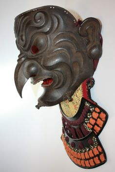 Somen made by the renowned gendai (modern) katchu-shi (armor maker) Fukutake… Japanese Mask, All Japanese, Japanese Sword, Japanese Culture, Samurai Helmet, Samurai Armor, Arm Armor, Cosplay Helmet, Oni Mask