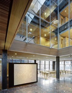 Finnforest Modular Offices, wooden office building - Helin & Co Architects, 2005 Demountable Partitions, Modular Office, Room With Plants, Interesting Buildings, Design Competitions, Office Walls, Architect Design, Atrium, Wood Construction