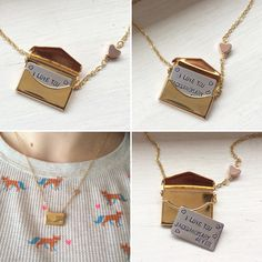 A personal favorite from my Etsy shop https://www.etsy.com/listing/261400469/love-letter-envelope-locket-necklace