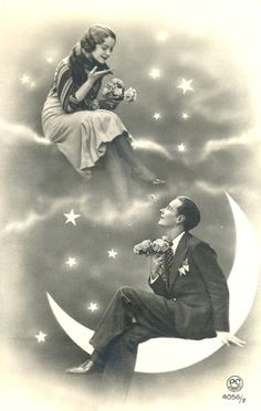 1920s Postcard Love you to the Moon and Back - Save the Date post card