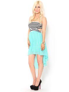 #Striped Cut-Out Chiffon #Dress