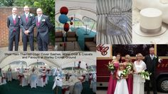 West Ham themed wedding, alternate periwinkle and claret sashes, balloons, favour top hats and bags
