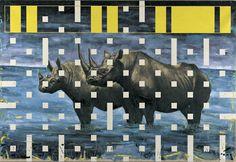 Studio di contaminazione neoplastica sui rinoceronti IX, 1999, olio su lino, cm 150 x 200.