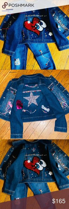 Handmade jean jacket and jeans! Custom Handmade custom one of a kind ! Jeans to match jacket domenica bella designs Matching Sets Fashion Tips, Fashion Design, Fashion Trends, Boutique, Best Deals, Jeans, Jackets, Handmade, Outfits
