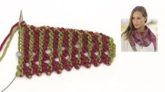 How to knit the shawl with stripes and picot edge in DROPS 178-18