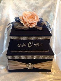 Wedding card box by Thatssolovely on Etsy Wedding Gift Card Box, Diy Card Box, Gift Card Boxes, Wedding Boxes, Diy Box, Wedding Cards, Trendy Wedding, Diy Wedding, Wedding Arbors