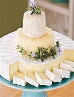 Cheese Wedding Cake - So simple to cut and your guests can take a slice home for supper too!