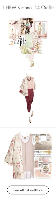 """1 H&M Kimono, 14 Outfits"" by polyvore-shopper ❤ liked on Polyvore featuring Benefit, Lux-Art Silks, H&M, RED Valentino, Moschino Cheap & Chic, Dolce&Gabbana, Sugarfree Shoes, outerwear, jackets and kimono"