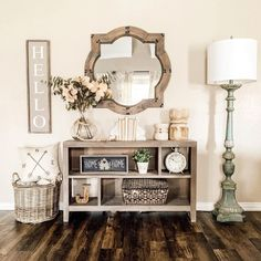home decor entryway 35 Popular Modern Farmhouse Living Room Decor Ideas - There is nothing quite as warm and welcoming as an old farmhouse. This style of decorating practically begs friends and families to come in, put their. Modern Farmhouse Living Room Decor, Home Living Room, Rustic Farmhouse, Farmhouse Style, Modern Living, Small Living, Farmhouse Lamps, Farmhouse Wall Decor, Farmhouse Ideas