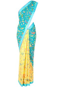 Blue and yellow paisley printed sari available only at Pernia's Pop-Up Shop.