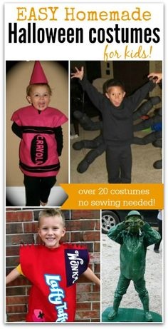 Find the best Homemade Halloween Costumes for Kids. You don't even have to be able to sew to make these Halloween costumes for less.