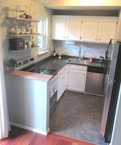 Small Kitchen Redo  Half Wall Beside The Stove Would Be Perfect In Our  Kitchen To Protect Against Hot Spills!
