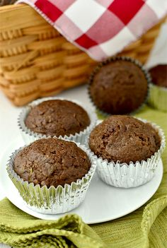 Healthier Double Chocolate Zucchini Muffins | iowagirleats.com. I'm sure I can make these even healthier!