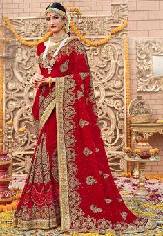 Embroidered Georgette Saree in Red Bridal Lehenga, Saree Wedding, Wedding Dresses, India Wedding, Yellow Fashion, Georgette Sarees, Beautiful Saree, Indian Designer Wear, Saree Collection