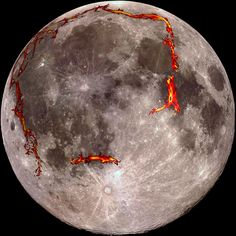 The full moon as seen from the Earth, with the Ocean of Storms (Procellarum) border structures superimposed in red. Scientists now think this huge feature on the moon was formed by lunar lava early in the moon's formation, and not a cataclysmic impact.
