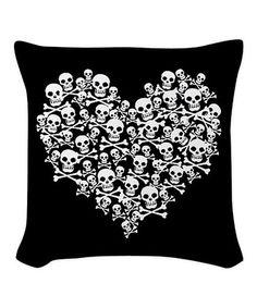Another great find on #zulily! Black Skull Heart Throw Pillow #zulilyfinds