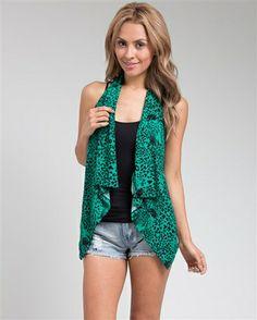 Green Cheetah Print Cardigan www.metamorphicfashion.com
