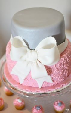 pink and grey baby shower | The top tier was a Junior Mint cake.