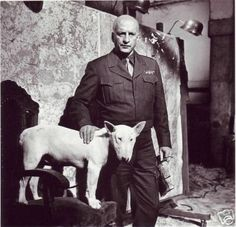 George C Scott playing General Patton in the movie Patton.  General George S. Patton Jr. had a Bull Terrier named  Willie