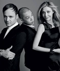 Nadja Swarovski founded the Atelier Swarovki in 2007 to deliver luxury crystal accessories collections by emerging and established design talent, such as Nicholas Kirkwood and Jason Wu pictured here with Nadja Swarovski